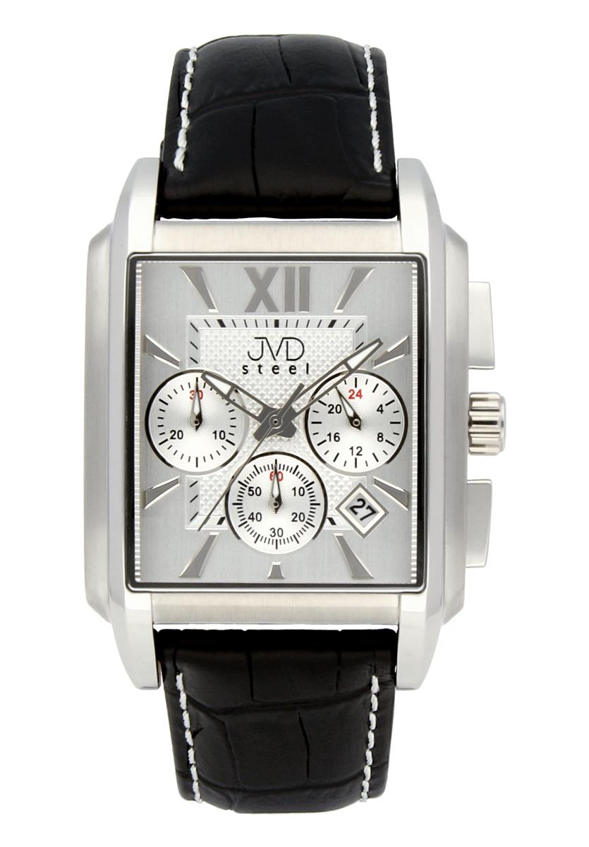 Luxusní hranaté pánské retro hodinky s chronografem JVD C1197.1