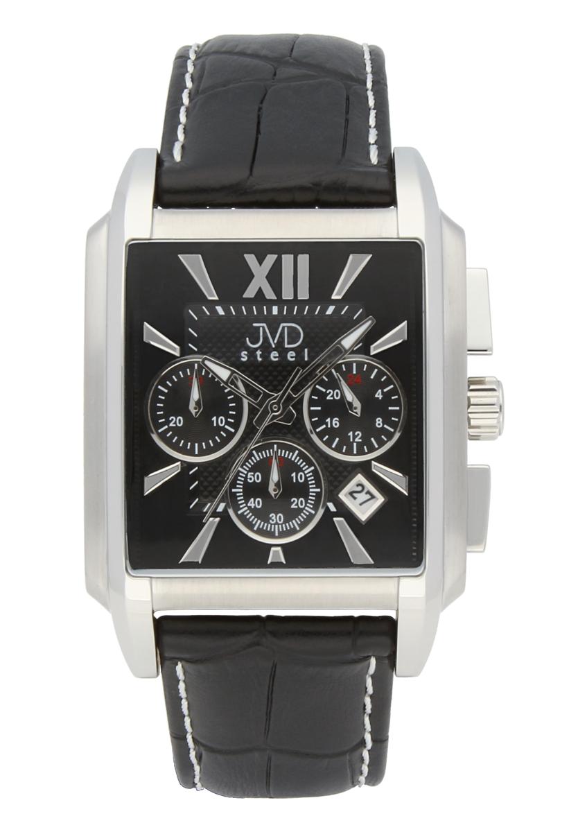 Luxusní hranaté pánské retro hodinky s chronografem JVD C1197.2