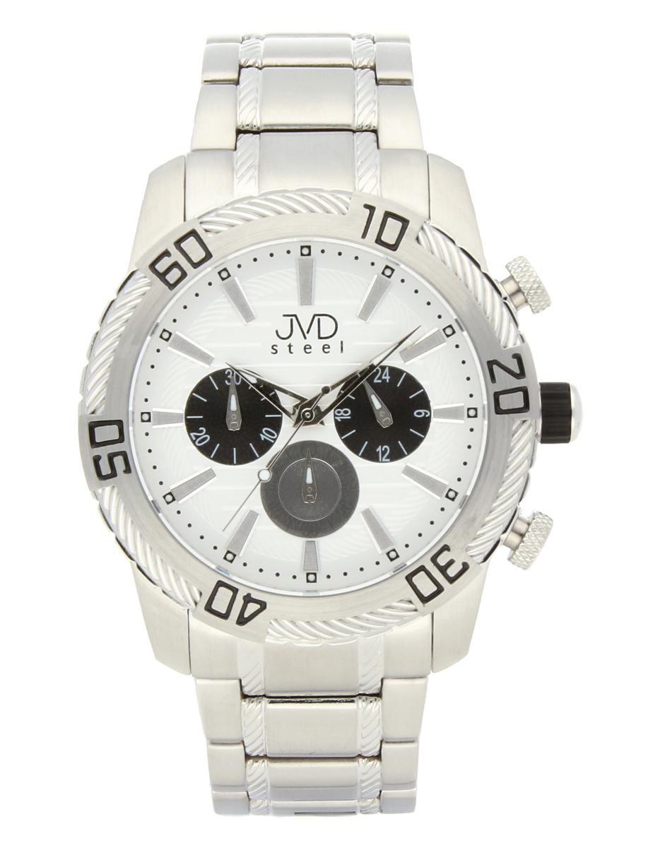 Mohutné pánské celonerezové vodotěsné hodinky JVDC 1130.1 s chronografem 10ATM