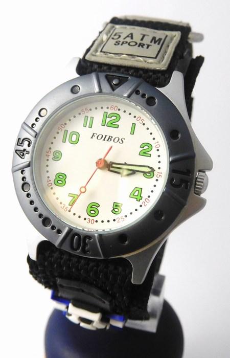 Chlapecké sportovní dětské hodinky Foibos 2589.1 pro malé fotbalisty - 5ATM (zapínání na suchý zip)