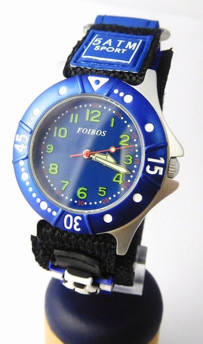 Chlapecké sportovní modré hodinky Foibos 2589.2 pro malé fotbalisty - 5ATM (zapínání na suchý zip)
