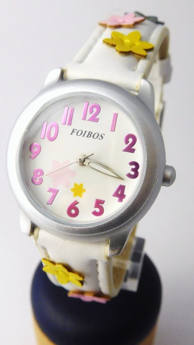 Dětské dívčí bílé hodinky Foibos 1055 pro malé děvčata