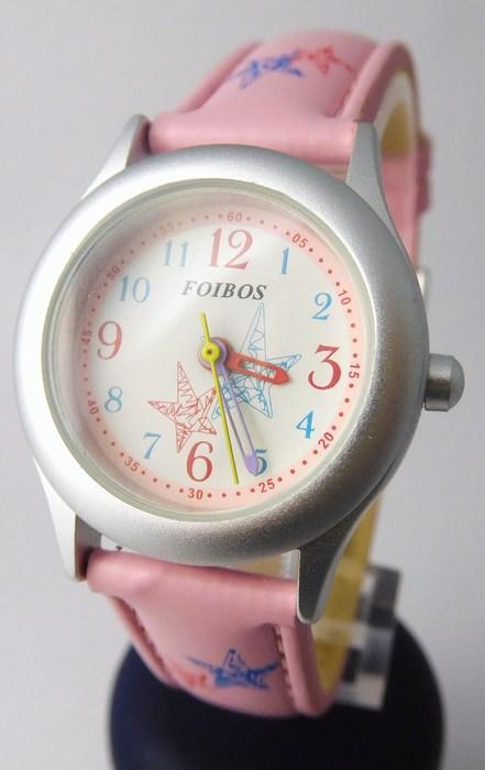 Růžové dívčí dětské hodinky Foibos 1567.4 s barevnými motivy