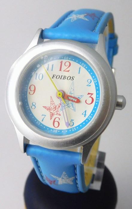Světle modré dívčí dětské hodinky Foibos 1567.5 s barevnými motivy