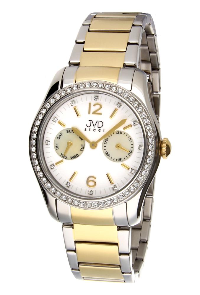 Dámské šperkové ocelové hodinky JVD W28.3 bicolor s kamínky okolo číselníku