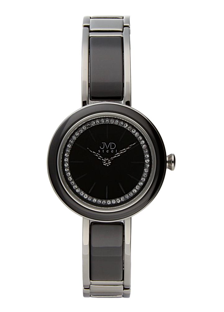 Šperkové černé luxusní dámské hodinky JVD W32.1 s černou úpravou IPblack