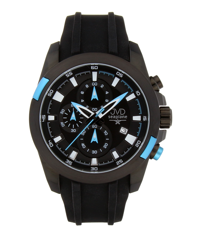 Vysoce odolné černé vodotěsné sportovní hodinky Seaplane JVD W31 s modrými prvky