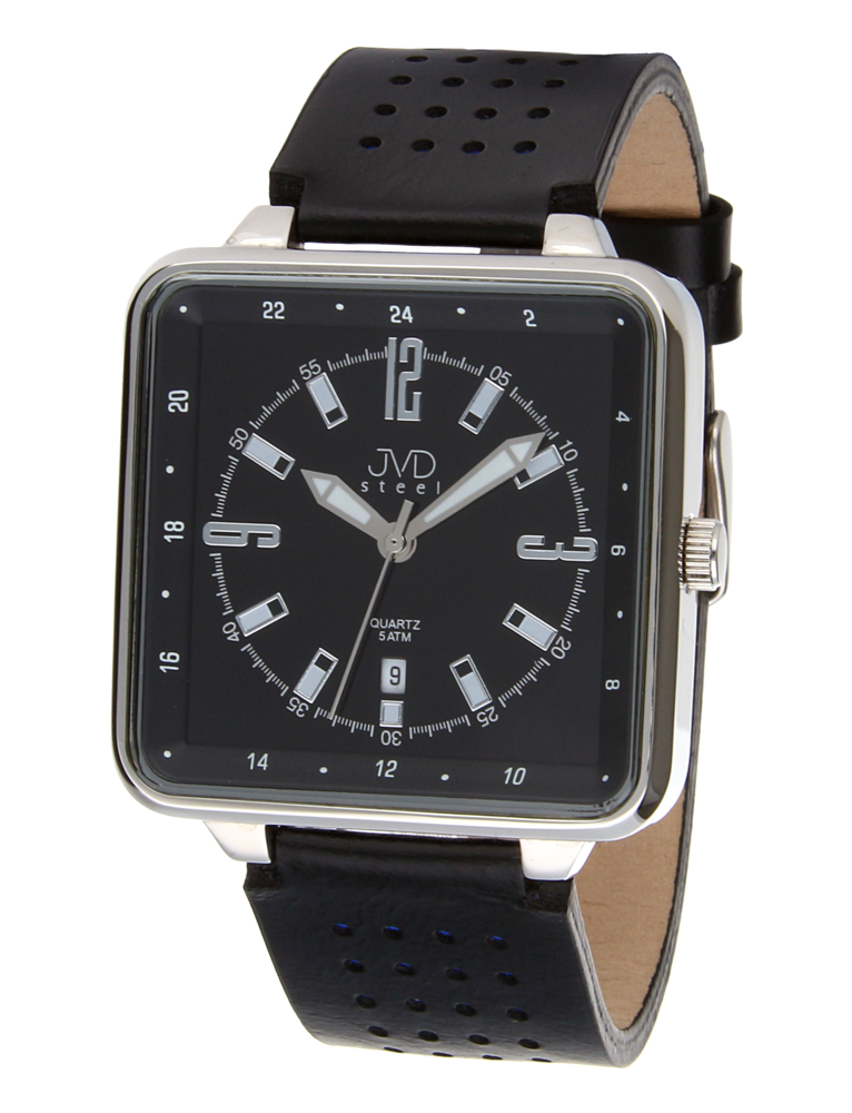 Ocelové voděodolné unisex hranaté hodinky JVDX 68