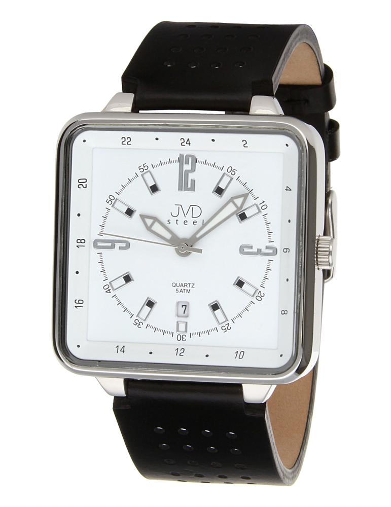 Ocelové voděodolné unisex hranaté hodinky JVDX 98