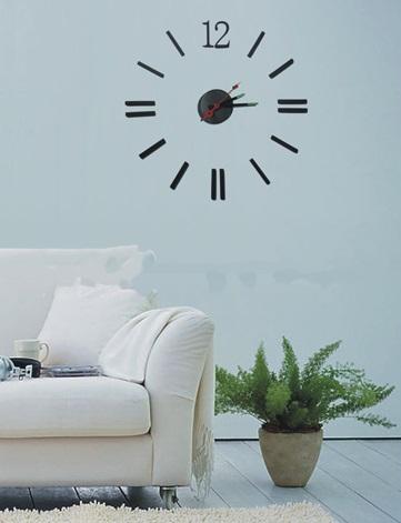 Levné nalepovací černé designové samolepící hodiny HM-10E013 - průměr 80cm (HM-10E013 )