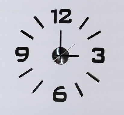 Levné nalepovací černé designové samolepící hodiny wcs3 - průměr 50cm (wcs3)