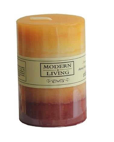 Oranžovo-žlutá dekorační svíčka o rozměrech 6 x 10cm - délka hoření 40hod (Vonné aromatické svíčky - levně)