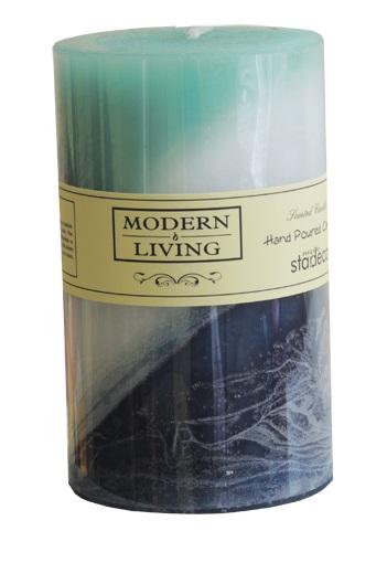 Dekorační vonná aromaticktá tyrkysová svíčka 5x7,5cm délka hoření 18hod (Vonné aromatické svíčky - levně)