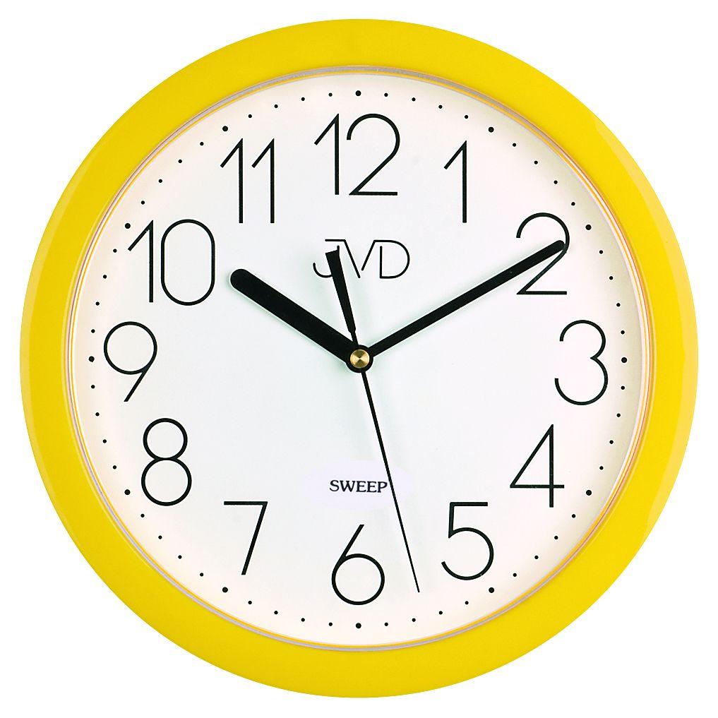 Moderní žluté dětské nástěnné netikající tiché hodiny JVD sweep HP612.12