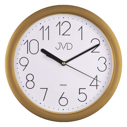 Plastové netikající tiché hodiny JVD sweep HP612.26 - metalická zlatá