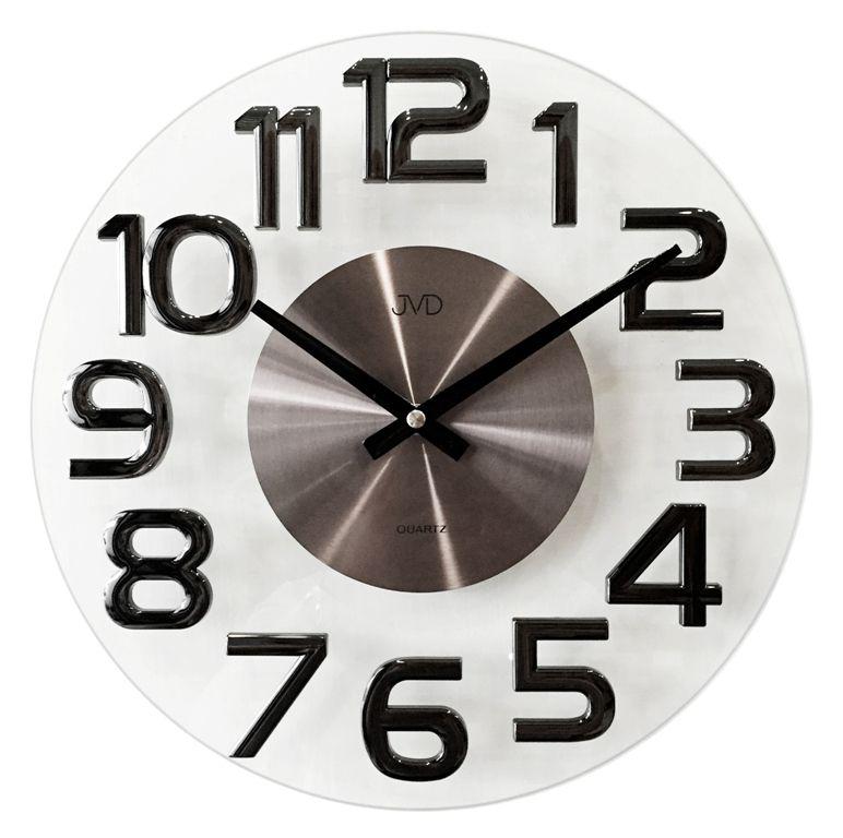 Luxusní kovové skleněné designové hodiny JVD HT098.2