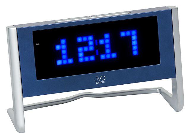 Digitální budík JVD SB1252.3 do sítě s modrými číslicemi a teploměrem