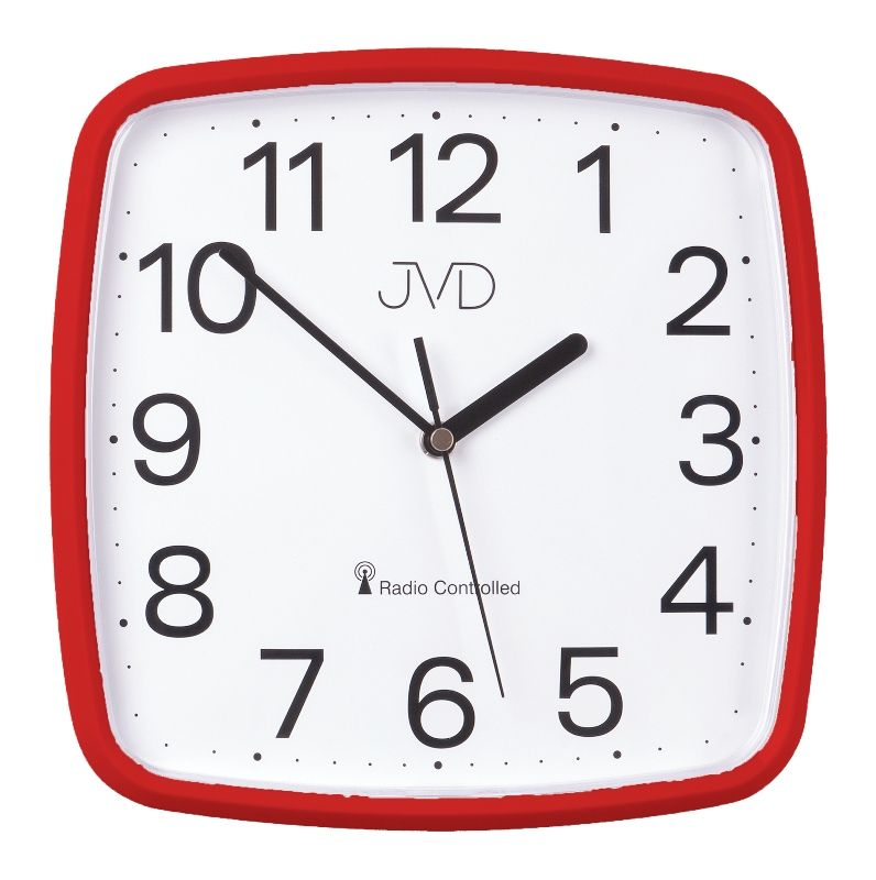 Červené hranaté rádiem řízené přesné levné hodiny JVD RH616.4