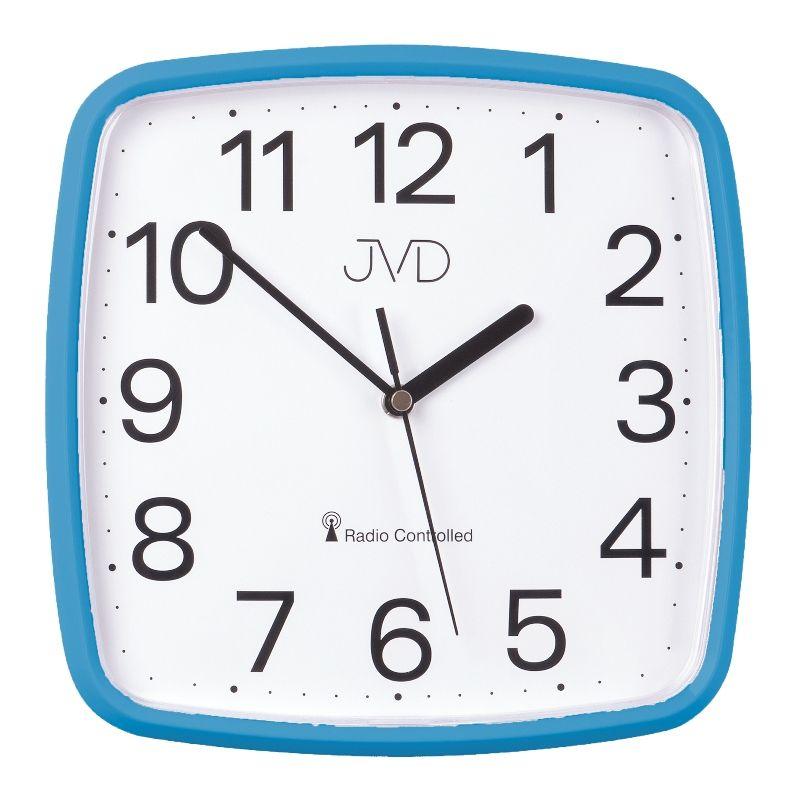 Modré hranaté rádiem řízené přesné levné hodiny JVD RH616.5
