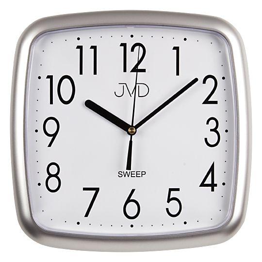 Šedé hranaté plastové nástěnné netikající tiché hodiny JVD sweep HP615.2