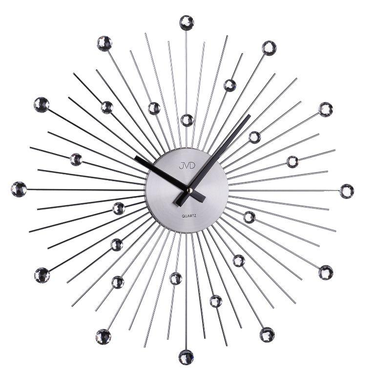 Luxusní paprskovité kovové antracitové hodiny JVD HT071.1 s kamínky