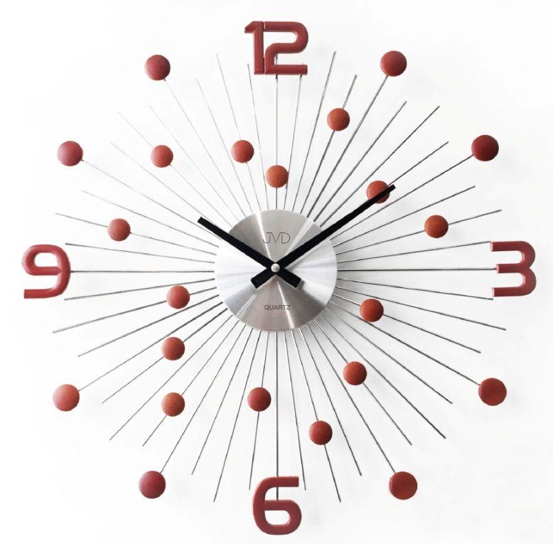 Luxusní moderní kovové hodiny JVD HT074.3 s červenými prvky (HT074.3 )