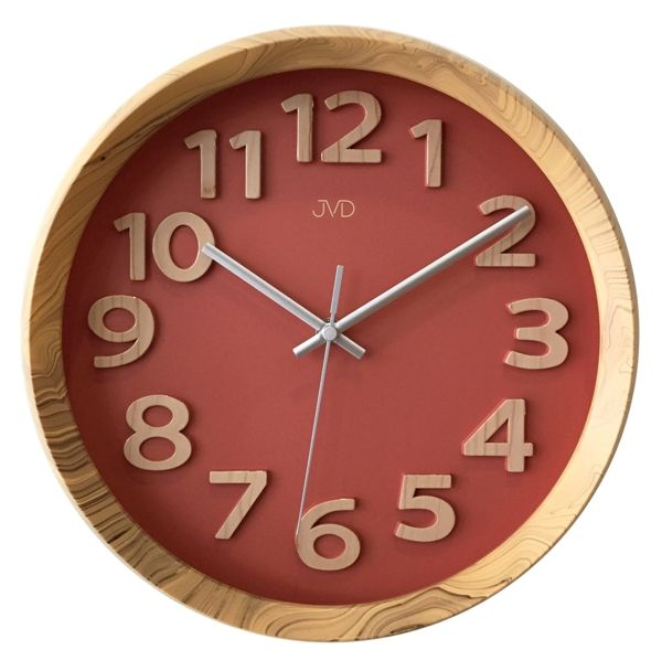 Nadčasové plastové nástěnné designové hodiny JVD HT073.1 v imitaci dřeva (nová koleckce hodin v imitaci dřeva)