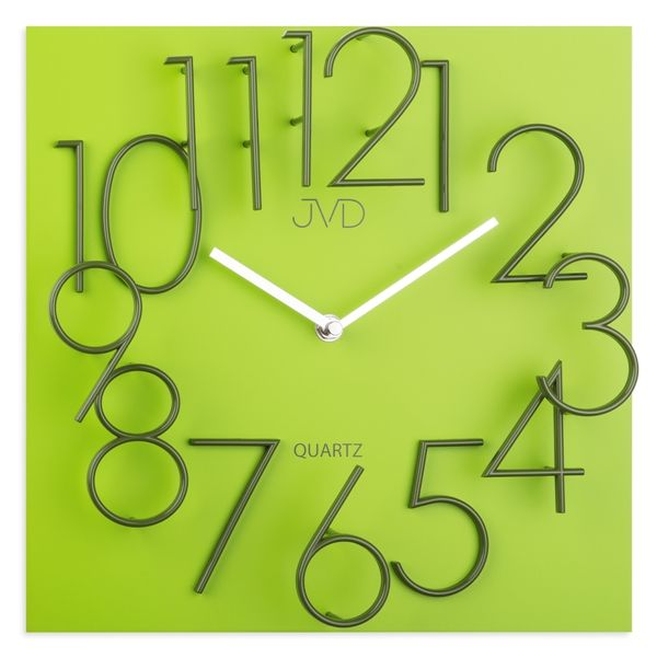 Hranaté desginové hodiny JVD HB24.1 s kovovými číslicemi (vystouplá čísla) (MDF materiál - zelené )