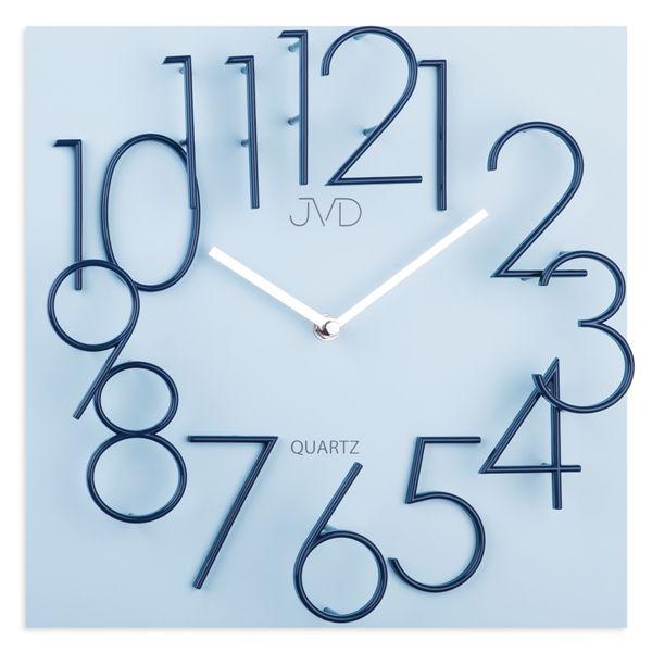 Hranaté desginové hodiny JVD HB24.2 s kovovými číslicemi (vystouplá čísla) (MDF materiál )