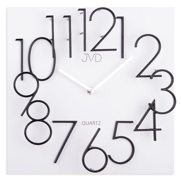 Hranaté desginové hodiny JVD HB24.3 s kovovými číslicemi (vystouplá čísla) (MDF materiál )