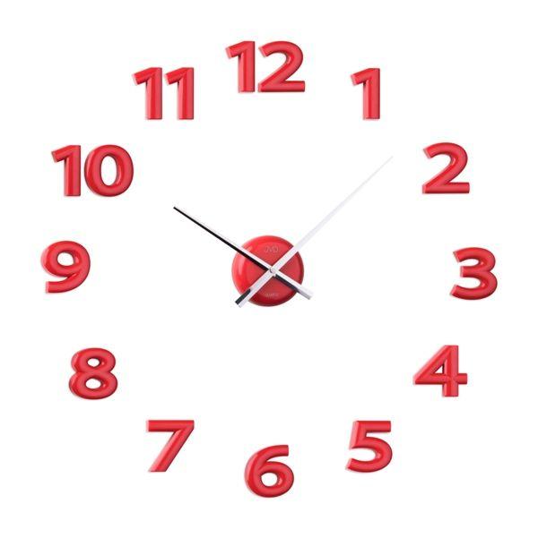 Nalepovací hodiny JVD HB12.3 - červené (Červené exkluzivní luxusní nástěnné nalepovací hodiny JVD HB12.3)