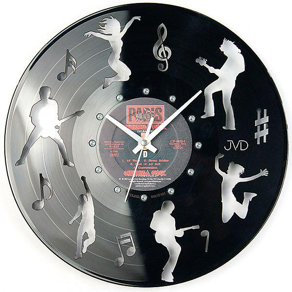 Nástěnné hodiny design JVD HJ62 ze skutečné gramodesky