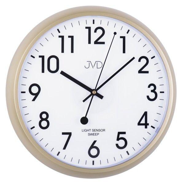 Plastové hodiny JVD sweep HP698.1 - béžové (netikající hodiny se senzorem podsvícení)