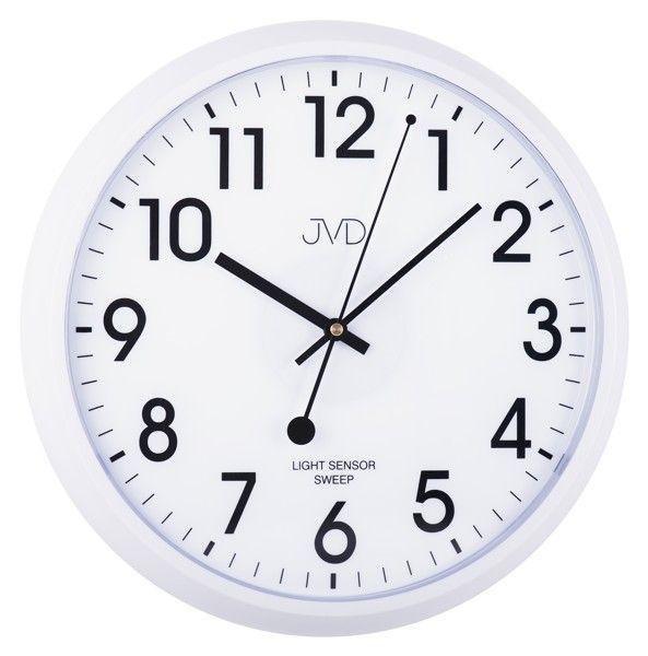 Plastové hodiny JVD sweep HP698.3 - bílé (netikající hodiny se senzorem podsvícení)