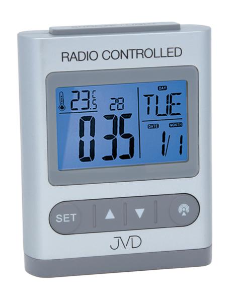 Digitální rádiem řízený budík JVD RB31.1 (celoplošné podsvícení, teploměr, melodie)