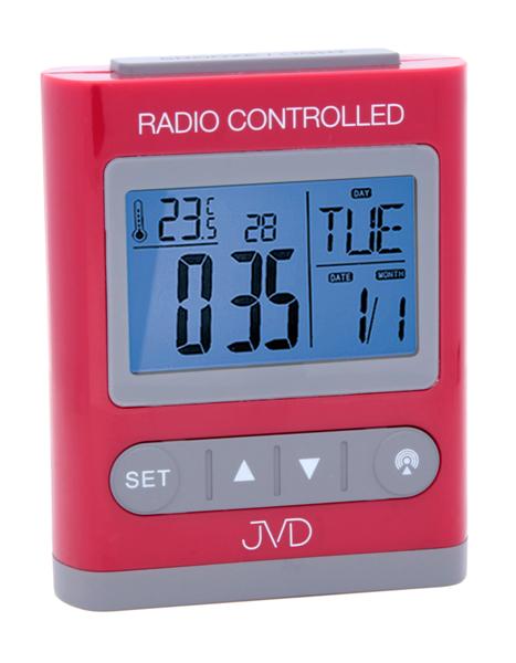 Digitální rádiem řízený budík JVD RB31.2 (celoplošné podsvícení, teploměr, melodie)