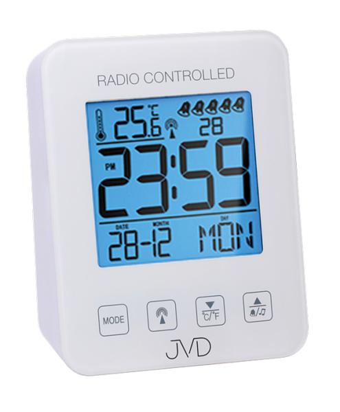 Bílý digitální rádiem řízený budík JVD RB38.1 (celoplošné podsvícení, teploměr, melodie)
