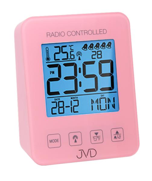 Růžový digitální rádiem řízený budík JVD RB38.2 (celoplošné podsvícení, teploměr, melodie)