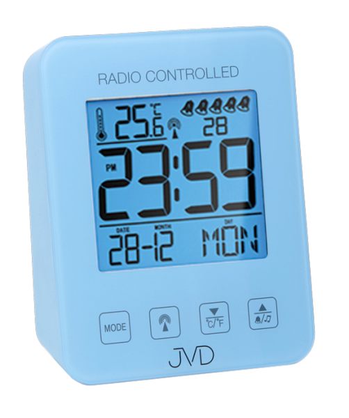 Modrý digitální rádiem řízený budík JVD RB38.3 (celoplošné podsvícení, teploměr, melodie)