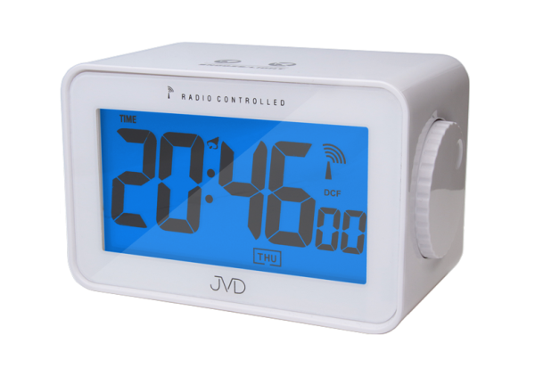 Digitální rádiem řízený budík JVD RB53 (celoplošné podsvícení, teploměr, vlhkoměr)