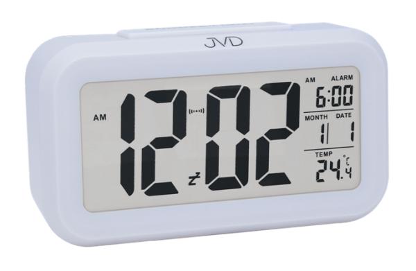 Bílý digitální budík JVD SB18.1 (teploměr, senzor stmívání, celoplošné podsvícení)