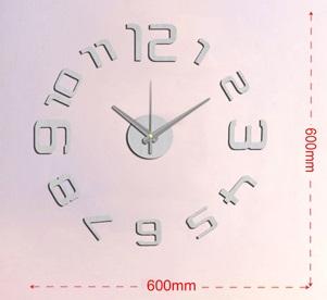 Stříbrné nalepovací hodiny na zeď Stardeco HM-10EM109S (levné nalepovací hodiny HM-10EM109S s arabskými číslicemi)