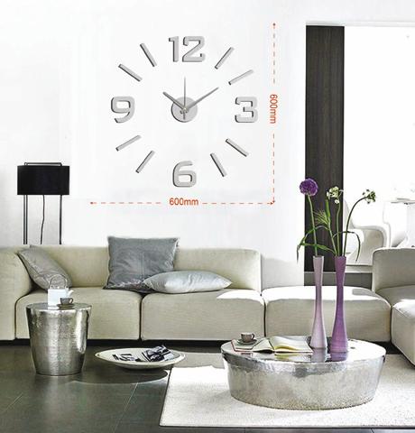 Levné stříbrné nalepovací hodiny na zeď Stardeco HM-10EM001S (levné samolepicí hodiny HM-10EM001S)