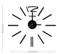 Černé nalepovací hodiny na zeď Stardeco HM-10E028 (průměr 60cm) (levné nalepovací hodiny HM-10E028)
