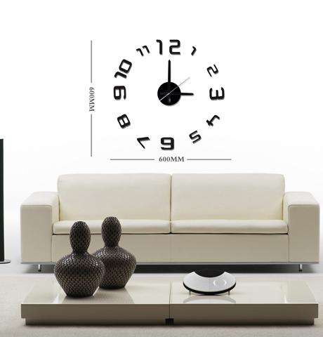 Černé nalepovací hodiny na zeď Stardeco HM-10E026 (průměr 60cm) (levné nalepovací hodiny HM-10E026)