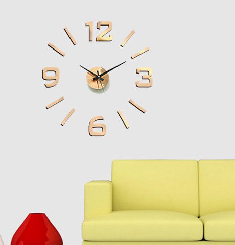 Bronzové nalepovací hodiny na zeď Stardeco HM-10ER102C (levné samolepicí hodiny HM-10ER102C 60cm)