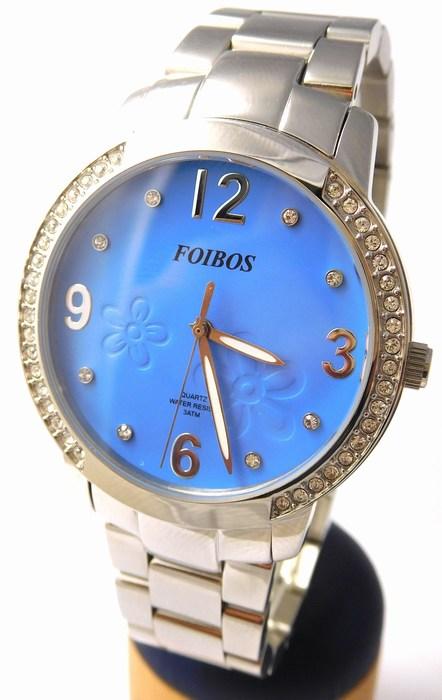 Dámské šperkové stříbrné hodinky s kamínky po obvodu Foibos 25963 (modrý čís.)