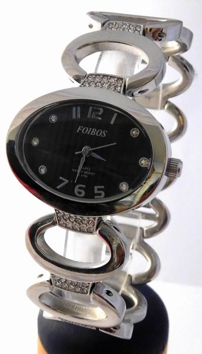 Dámské šperkové stříbrné hodinky s kamínky na pásku Foibos 2422