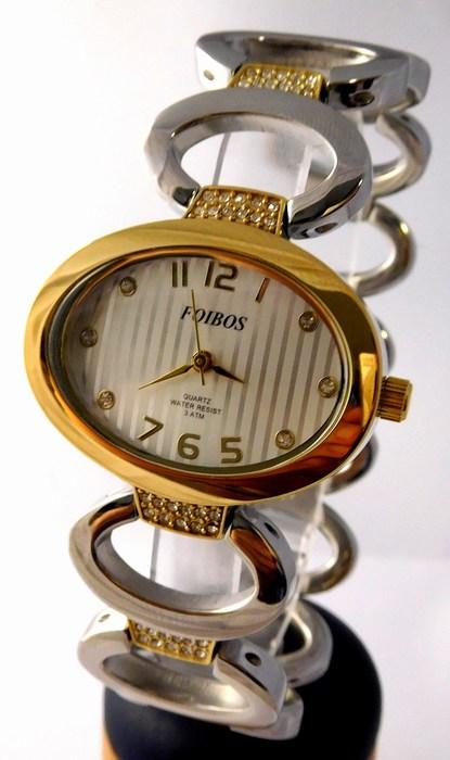 Dámské šperkové stříbrné hodinky s kamínky na pásku Foibos 24221 BICOLOR