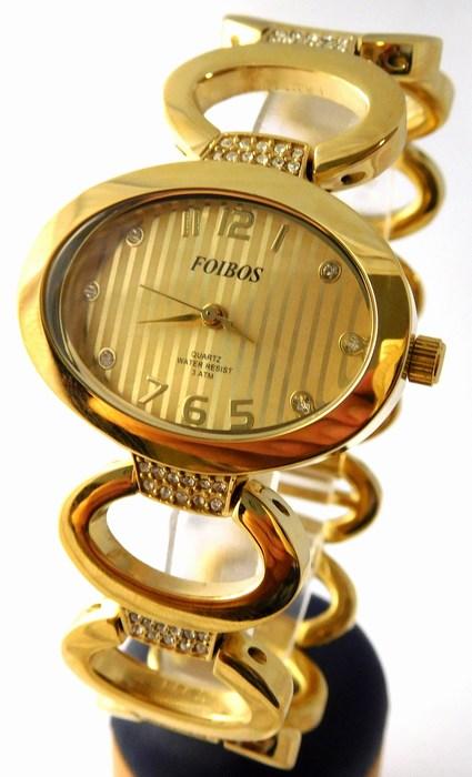 Dámské šperkové zlacené hodinky s kamínky na pásku Foibos 24222